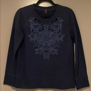 JCREW sweatshirt with cutout embroidery